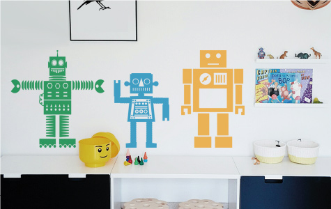 robot wall stickers for kids rooms