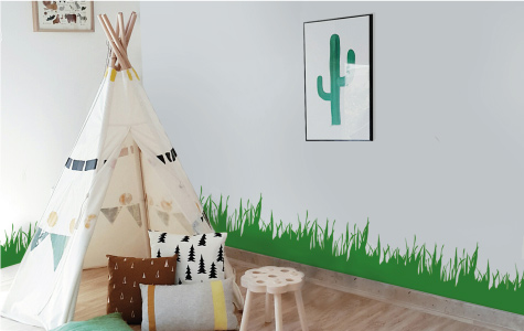 Green grass vinyl wall stickers for kids rooms
