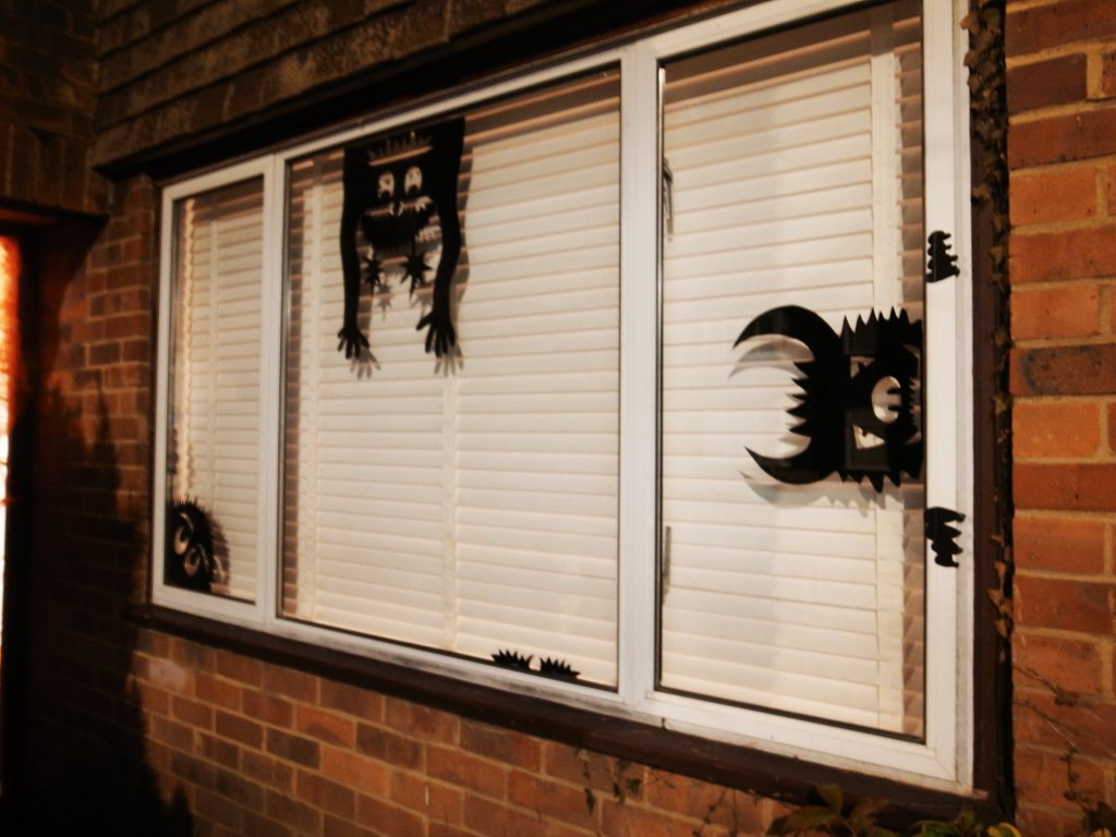 Vinyl halloween decorations on a window