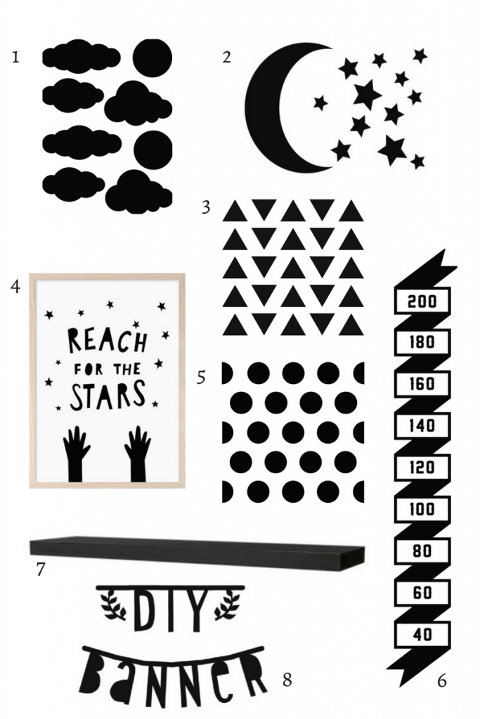 black and white wall decor for nursery