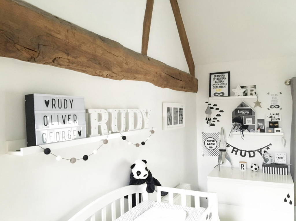 Nursery with black and white decor