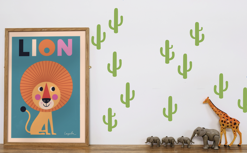 Cactus wall stickers for kids