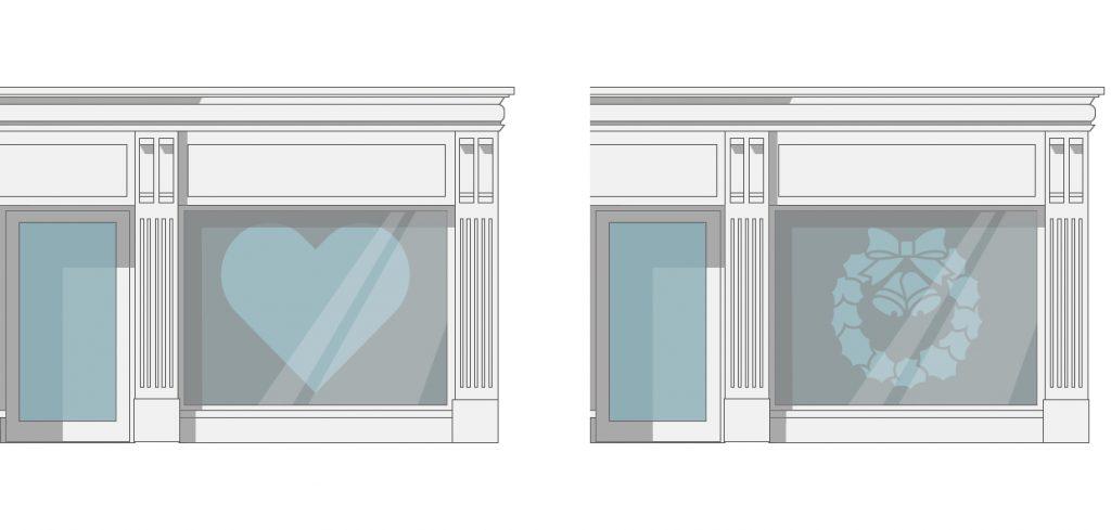 Vinyl decals in shop windows