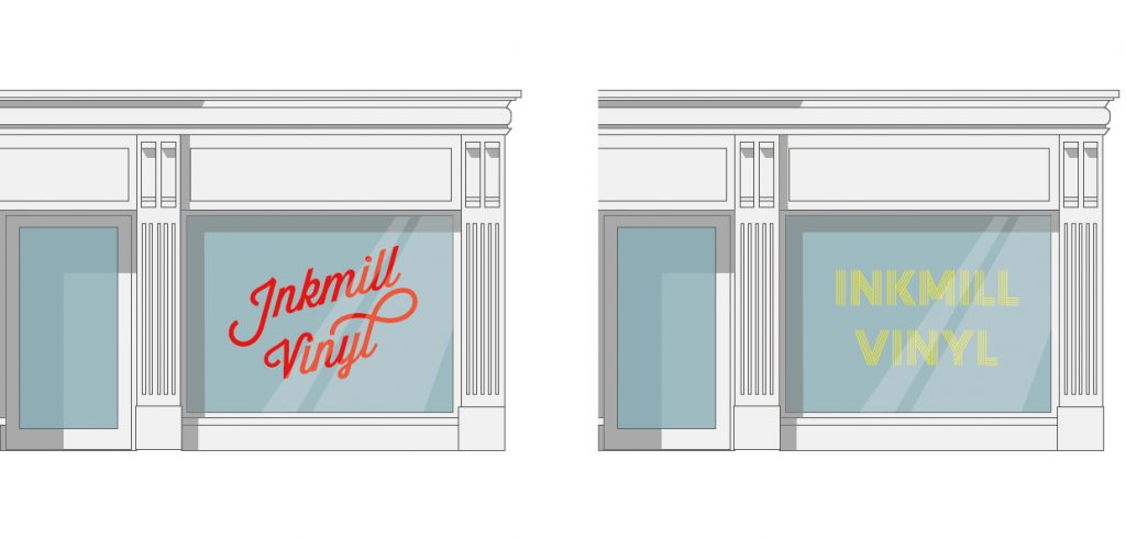 Vinyl lettering for shop window displays