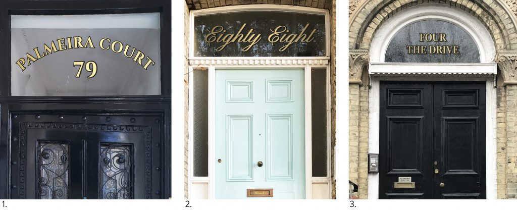 examples of fanlight house names with gold vinyl