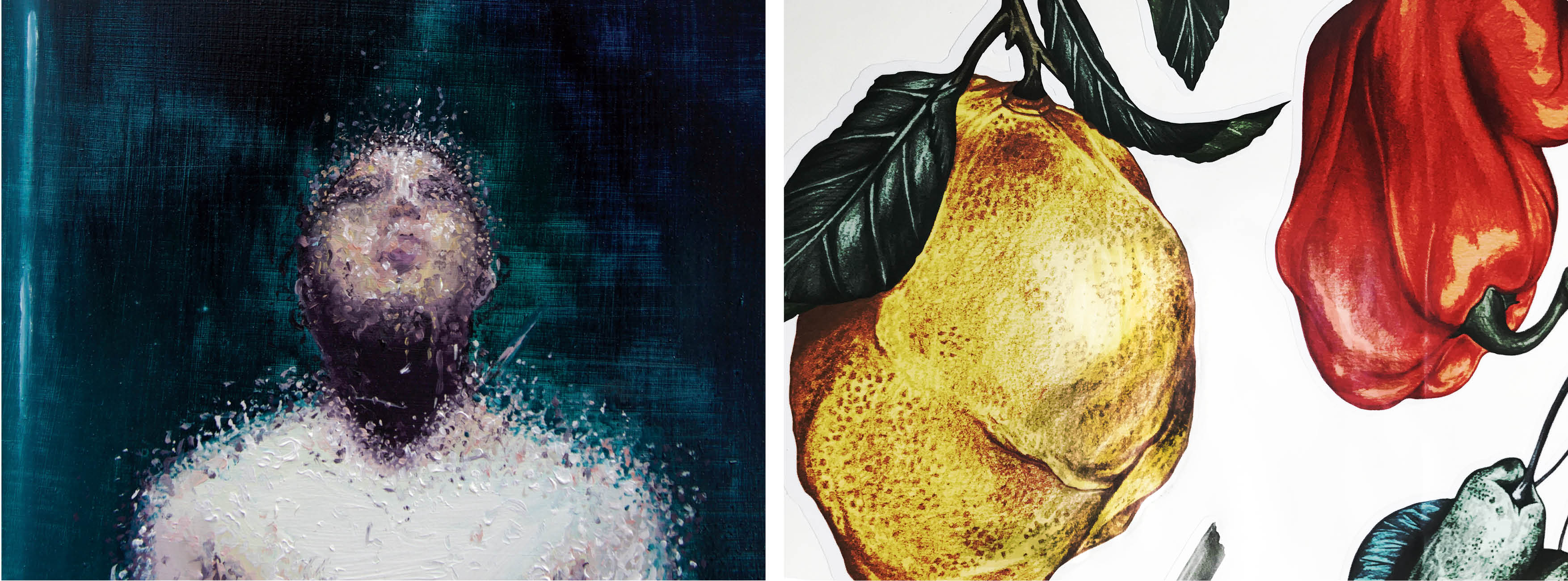fine art print reproduction of painting by Bobby Baker. Illustrations of fruit printed to white vinyl
