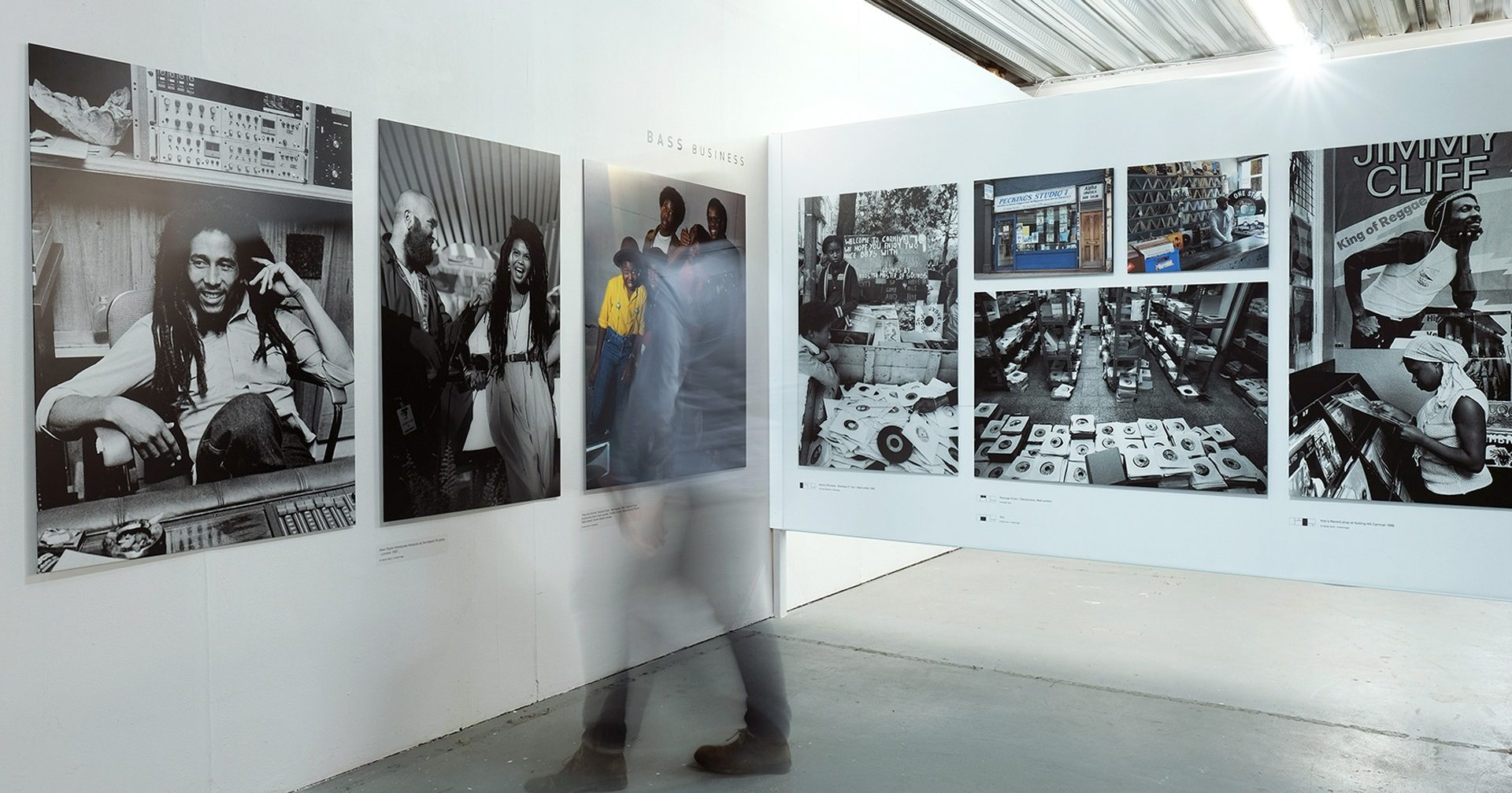 black and white photography displayed at bass culture 70/50 at University of Westminster