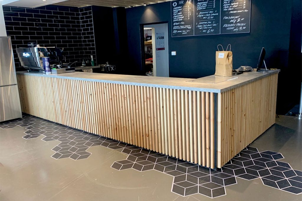 hexagon floor vinyl at athlete kitchen cafe bar in cardiff