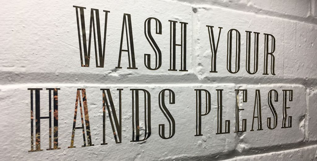 gold vinyl wash your hands please sign
