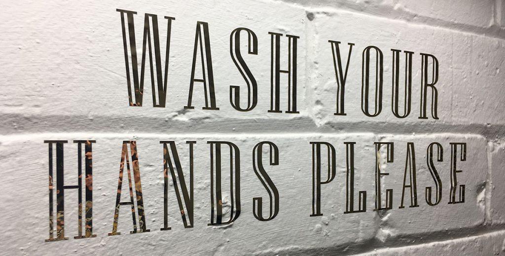 gold vinyl wash your hands please sign