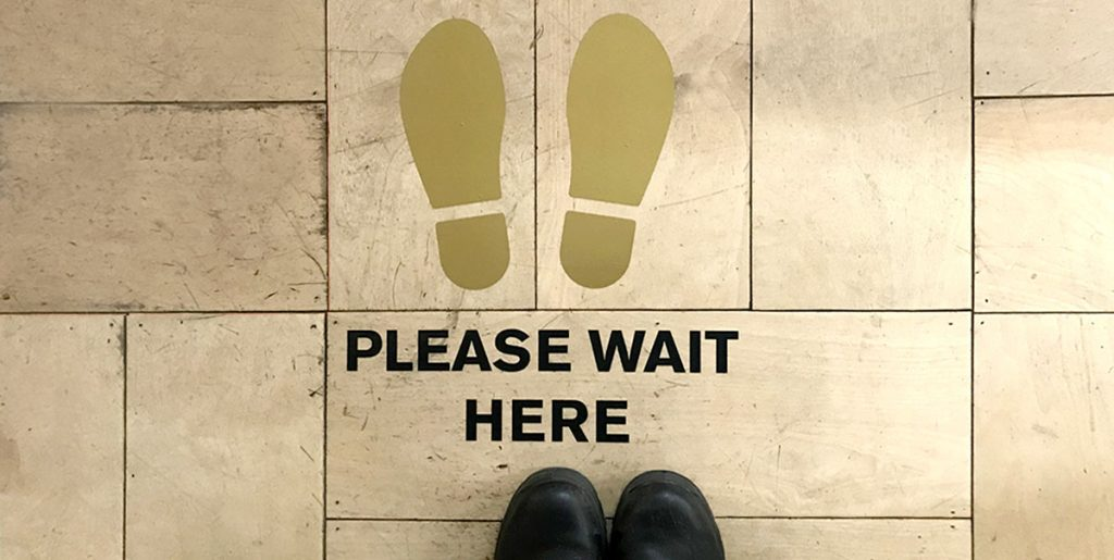 social distance gold floor vinyl sign